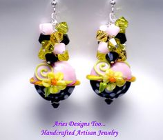 Summer Blossoms...Lampwork Earrings in Pink by ariesdesignstoo, $40.00