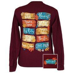 Girlie Girl Falling Leaves Pumpkin Spice & Bonfires Fall Long Sleeves T Shirt
