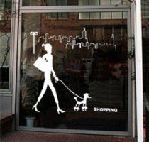 Happy Shopping Girl Walking a Dog Vinyl Wall Decal Sticker Living Room Bed Room Paste Store Glass Window Tv Set Sticker Art Home Murals 158. Available at http://astore.amazon.com/groomingfun-20/detail/B00BZQBUD4