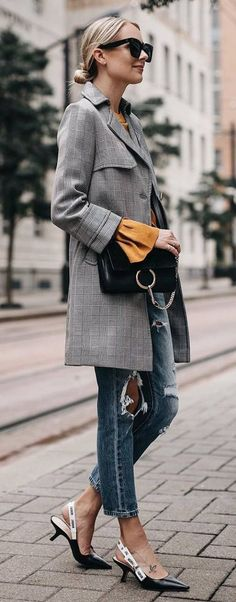 Fashion Inspiration Grey Coat Plus Bag Plus Blouse Plus Rips Plus Shoes