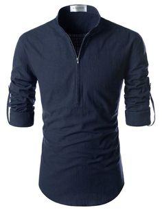 Nearkin Beloved Men Henley Neck Long Sleeve Daily Look Linen Shirts at Amazon Men's Clothing store: