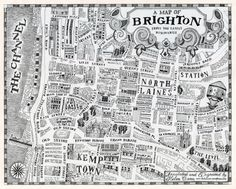 I'm obsessed with maps and have just discovered this black and white illustrated Brighton map print by local artist, Helen Cann. I love the playful design and… Brighton Map, Brighton Tattoo, Brighton And Hove, Travel Sketchbook, Sketchbook Project, Latest Discoveries, Fantasy Map, Map Design, Design Ideas