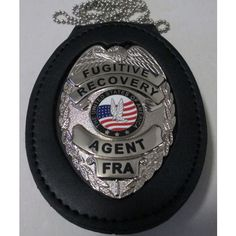 FUGITIVE RECOVERY AGENT BELT CLIP BADGE WITH HOLDER & NECK CHAIN Sheriff Badge, Neck Chain, Badge Holders, Airsoft, Badges, Detective, Knives, Recovery, Police