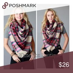"🍁 Fuchsia Plaid Scarf Fuchsia multi colored plaid frayed square scarf. Wear multiple ways as a shawl or as a blanket scarf. 58"" x 58"". 100% Acrylic Accessories Scarves & Wraps"