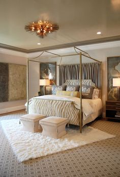 Bedroom Design, Comely Canopy Bed Ideas With Elegant Zebra Pattern Headboard And Footboard Also Artistic Ceiling Lamp And Twin Beige Pouffe And White Fur Rug Also Modern Table Lamp And Brown Night Table Also Gray Ceiling Color: Beauteous Canopy bed Curtains for girls