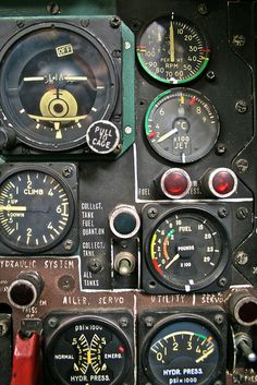 "Old School. Note the field modifications."" I love steam gauges, glass cockpits are boring by comparison Cuadros Star Wars, Photo Avion, Ex Machina, Flight Deck, Aviation Art, Aviation Theme, Aviation Technology, Military Aircraft, Gauges"
