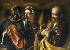 """""""The Denial of Saint Peter"""".  """"A Negação de Pedro"""". (1610).         (by Caravaggio)."""