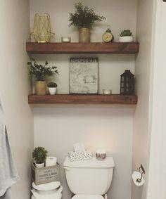Downstairs bathroom – badezimmer – – Candle Making Toilet Room Decor, Small Toilet Room, Interior Walls, Bathroom Interior Design, Interior Livingroom, Water Closet Decor, Toilet Closet, Shelves Above Toilet, Wood Shelves