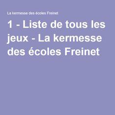 1 - Liste de tous les jeux - La kermesse des écoles Freinet