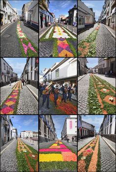Decorated Streets of Ponta Delgada for the Pilgrimage, Sao Miguel, Azores, Portugal