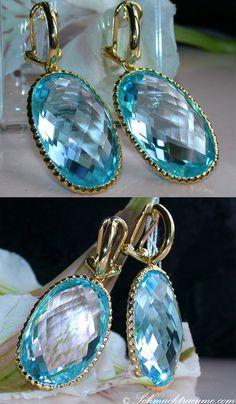 Fabulous: Huge Blue Topaz Earrings, YG-18K -- 2 Blue Topazes, 59,00 cts. -- Find out: schmucktraeume.com -- Visit us on FB: https://www.facebook.com/pages/Noble-Juwelen/150871984924926 -- Any questions? Contact us: info@schmucktraeume.com