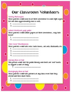 Great for back to school night or meet the teacher night!  I have it out on a clip board at the beginning of the year.  It is so helpful to have pa...