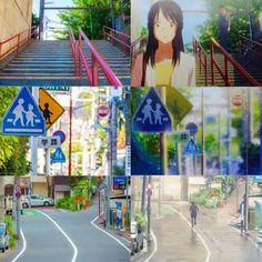 Kimi no na wa in real life Anime Vs Real Life, Memes In Real Life, Studio Ghibli, Miyazaki, The Garden Of Words, Fantasy Anime, Your Name Anime, Anime Places, Anime Scenery
