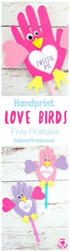 Grab your free printable template and make these adorable Handprint Love Birds. Too tweet for words!