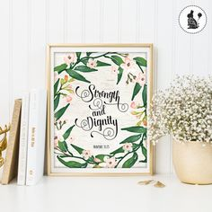 Strength and Dignity Printable Wall Art. von BlueBunnyPrintables