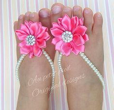 Pink flower baby barefoot sandals toddler barefoot by Aupetitpied, $23.99