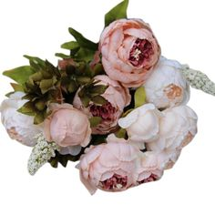 18 heads silk tea rose flower arrangement bridal bouquet artificial cheap party decor business buy quality decorating ideas parties directly from china party collar suppliers 8 heads artificial peony silk flower leaf home mightylinksfo