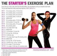 20 day exercise chart for beginners