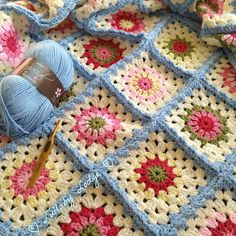 Cath Kidston Inspired Vintage Granny Square Blanket