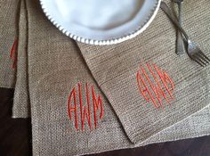 Monogrammed Burlap Placemat Set by CottonSeedsDesign on Etsy, $28.00