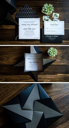 Give your guests an experience with opening these gorgeous hand-folded origami invitation suites. Shown with a dual-colored black and charcoal origami pocket. Elegant Wedding Invitations, Rehearsal Dinner Invitations, Unique Wedding Invitations, Wedding Invitation Wording, Floral Invitation, Invite, Wedding Programs, Invitation Design, Invitation Cards