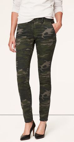 Camo Print Tailored Twill Skinny Pants- Marisa Fit