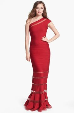Tadashi Shoji One Shoulder Illusion Gown available at #Nordstrom  SHOWSTOPPER
