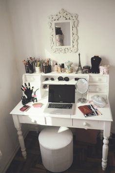desk/vanity table with cosmetics