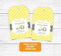 Printable Thank you Tags Yellow Grey Baby Shower Elephant