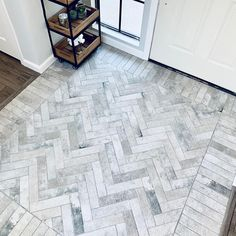 Is the entry to your home a little less than 'grand'? Even if you have a smaller entry, you can still make a large impact by doing… Home, Herringbone Tile, Brick Flooring, Entryway Tile Floor, Flooring, Entryway Flooring, Entry Tile, Brick Tiles, Herringbone Tile Floors