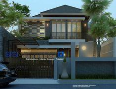 Rumah Tropis Batu Alam Ekspos, desain rumah 2 lantai yang menempatkan batu alam sebagai elemen desain eksterior utama fasad rumah