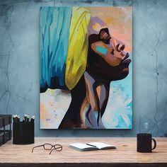 African Canvas Art by PosterMMe Black Women Art, African American Women, Home Wall Art, African Art, Female Art, Art Pictures, Vector Art, Canvas Art, Acrylic Canvas