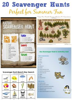 Lots of fun themed scavenger hunts (with free printables!) for the kids this summer