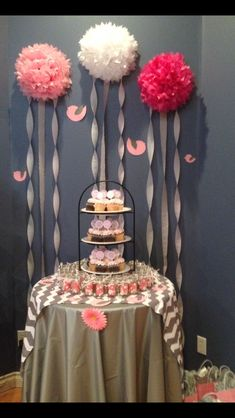 Pink and grey baby shower cupcakes