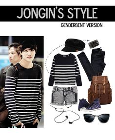 jongin airport fashion, genderbent version ~ #exo