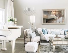 White Baby Grand Piano in Living Room
