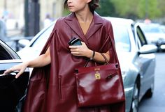 how stunning is that Hermes in oxblood? major. #MiroslavaDuma's street deets in Paris.