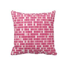 Pink Rectangle Mosaic Throw Pillow