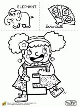 lettre e elephant eventail