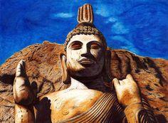 Avukana Buddha Statue_Ballpoint Pen by NishLineArt