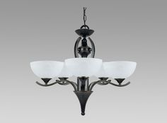 Amlite lighting (5 light chandelier with Alabaster Glass in Weathered bronze finish style CC157/5WB