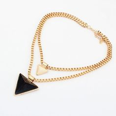 Simple Candy Color Triangle Pendant Multi-Layered Alloy Necklace For Women, AS THE PICTURE in Necklaces | DressLily.com $3.38