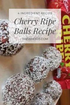 Cherry Ripe Balls Taste Sensation No Bake 4 Ingredients Video Best Christmas Recipes, Christmas Treats, Christmas Balls, Raw Desserts, Sweet Desserts, Candy Recipes, Sweet Recipes, Dessert Recipes, Cherry Ripe Recipes