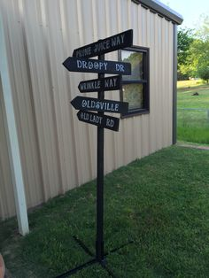 Over the hill sign my husband made for my sisters 50th birthday party