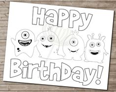 LITTLE MONSTER Coloring Page For Birthday Party By DandeAve 500