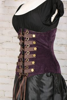 Taille 45-47 paarse Steampunk Wench korset door damselinthisdress