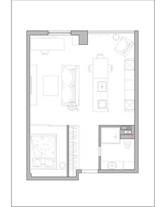 Designs by Style: Aparment Layout - Dark Themed Interiors: Using Grey Effectively For Interior Design 2 Bedroom Floor Plans, Apartment Floor Plans, House Floor Plans, Small Apartment Plans, Tiny Apartments, Tiny Spaces, Small Condo Living, Compact House, Grey Interior Design