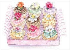 Box of cakes, flittered and stunning