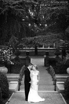 Wedding pose before a bridge