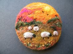 Hand Made Needle Felted Brooch/Gift   Sunset in the Hills   by T Dunn